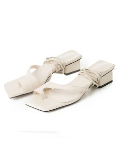 Joyce 1 - Leather Cross Strap Low Heels Sandals