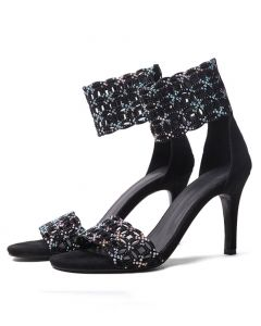 Joseline - Black Suede Ankle Strap High Heels Sandals