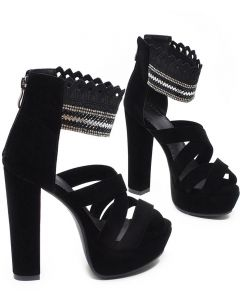 San Gabriel - Black Platform Ankle Strap High Heels Sandals