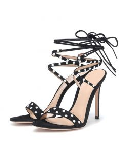 Plains - Black Stilettos Cross Ankle Strap High Heels Sandals