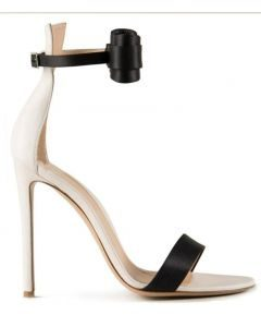 Florencianos - Black and White Stilettos Ankle Strap High Heels Sandals