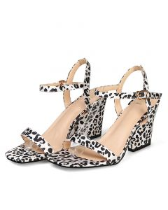 Bethany Boulevard Leopard Ankle Strap High Heels Sandals