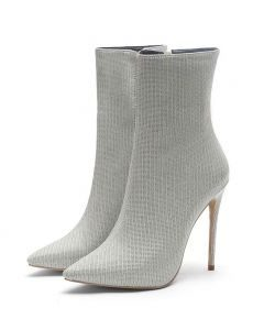 Nelly - Grey Sexy Fashion Women's Ankle Boots