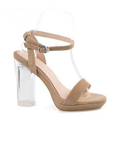 Columbine - Beige Transparent Ankle Strap High Heels Sandals