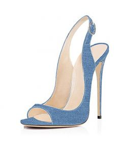 Via Giulia - Blue Slingback Stilettos High Heels Sandals