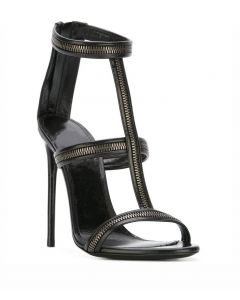 Chrysanthemum 3 - Black Stilettos Ankle Strap High Heels Sandals