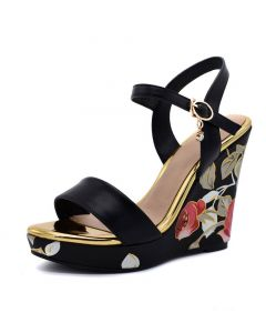 Skokie - Ankle Strap Wedge Heels Sandals