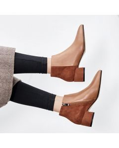 Hiraya Sexy Leather Ankle Boots