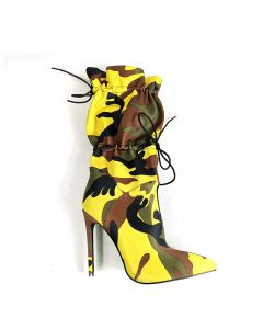 Alanza - Yellow Camouflage Stilettos Calf Length Boots