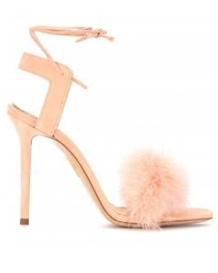 Largo Giovanni Boccaccio - Pink Suede Fur Stilettos Ankle Strap High Heels Sandals